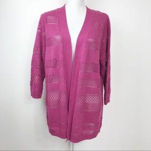 Nouveaux Rose Lightweight Open Weave Cardigan XL
